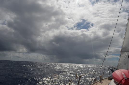 Dominica under a big ugly rain cloud